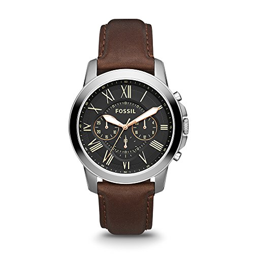 Fossil Men's 44mm Grant Stainless Steel Chronograph Watch with Black Dial and Brown Leather Strap