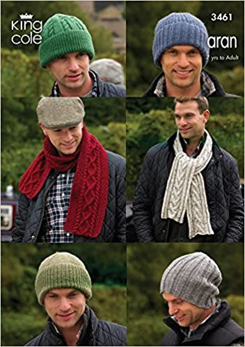 King Cole Knitting Pattern 3461 Mens Aran Hats And Scarves Amazon