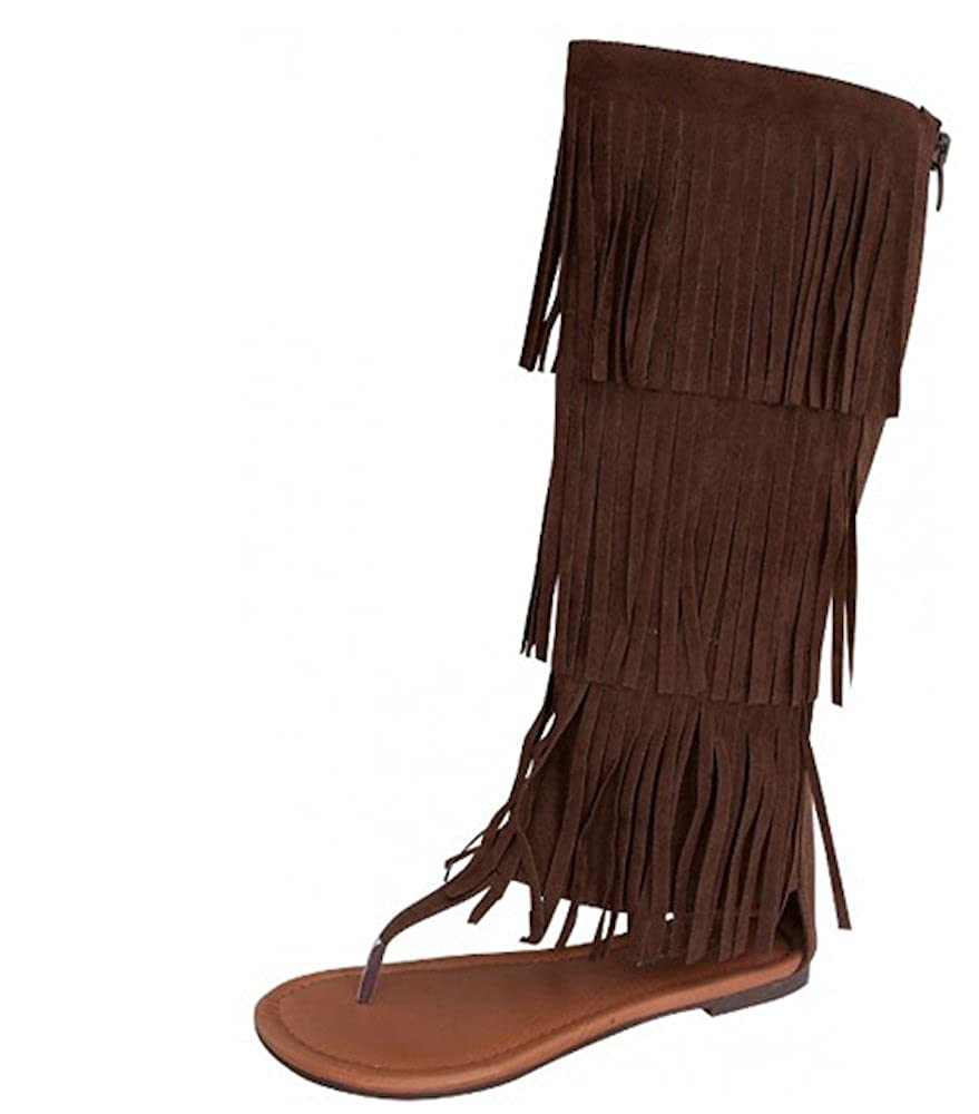 La Bella Fashion New Womens Mid Moccasin Calf Fringe Moccasin Mid Dress Sandals Sexy Boot Style in Black Tan, Brown, Red B00C3TPT7U Parent 32d211