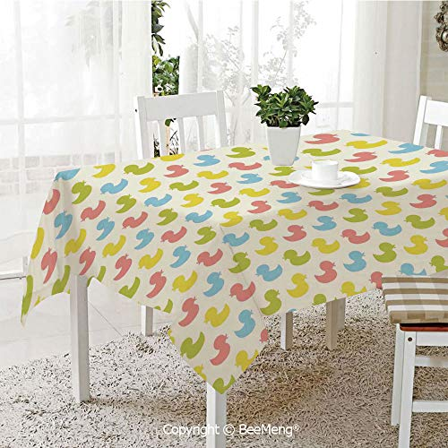 Spring and Easter Dinner Tablecloth,Kitchen Table Decoration,Rubber Duck,Colorful Ducklings Baby Animals Theme Pastel Girls Boys Newborn,Pink Blue Green and Yellow,59 x 83 inches