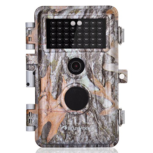 BlazeVideo 16MP 1920x1080P Video Game & Hunting Trail Camera with Night Vision Motion Activated IP66 Waterproof No Glow Infrared IR Time Lapse Wildlife Deer Cam Security Tracking & Password Protection