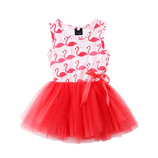22fad30a6 Image Unavailable. Image not available for. Color: Newborn Kids Baby Girl  Flamingo Princess Dress Tutu ...