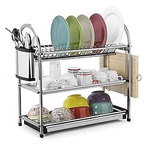 Toplife 3 Tier Stainless Steel Rustproof Dish Drainer Drying Rack