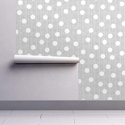 (Peel-and-Stick Removable Wallpaper - Gray and White Dot Gray Dotted Nursery Decor Dots Gray Polka Dots by Ottomanbrim - 24in x 60in Woven Textured Peel-and-Stick Removable Wallpaper Roll)