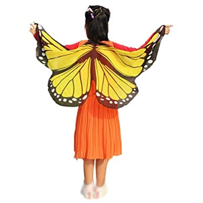 Weixinbuy Kids Girls Fairy Butterfly Wings Princess Dress-up Halloween Cloak Costume Yellow: Clothing