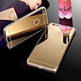 iSAVE New Luxury Soft Silicon Electroplated Mirror Finish Back Cover Frame Case for iPhone 6/6s (4.7 inches) - (GOLD)