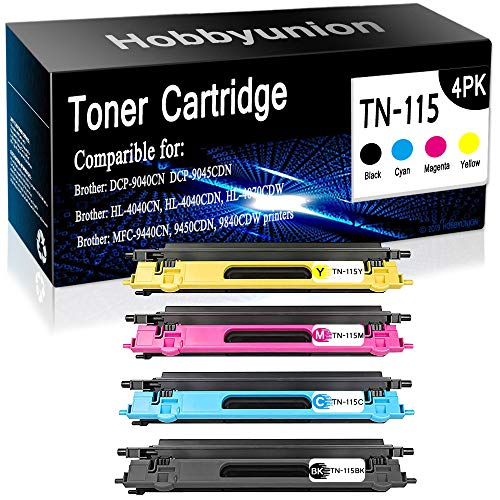 (Compatible Brother DCP-9040CN HL-4040CN MFC-9440CN Laser Printer Toner Cartridges TN115 TN-115BK(Black) TN-115C(Cyan) TN-115M(Magenta) TN-115Y(Yellow) 4-Pack, by Hobbyunion)