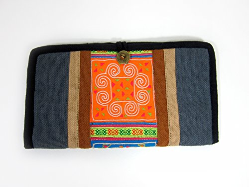 Khum Wieng Kham Women's Tribal Vintage Style Wallet, Purse, Hemp Fabric, Hand Embroidered (One Size, Gray)