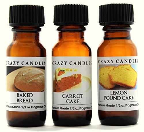 Crazy Candles 3 Bottles Set, 1 Baked Bread, 1 Carrot Cake, 1 Lemon Pound Cake 1/2 Fl Oz Each (15ml) Premium Grade Scented Fragrance Oils Baked Cake Scent Oil