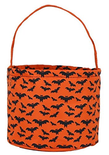 Jolly Jon Halloween Candy Bags Bucket Basket - Trick or Treat Goody Bag - Reusable Durable Handled Canvas Material - Orange & Black Bats Design - by (Bats) -