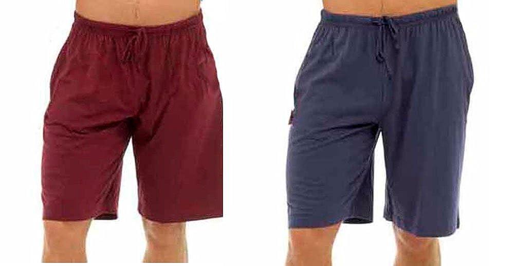 Hombres Pack Doble Salón Pantalones Cortos Jersey Elástico Noche Ropa Pijamas Pj inferiores: Amazon.es: Ropa y accesorios