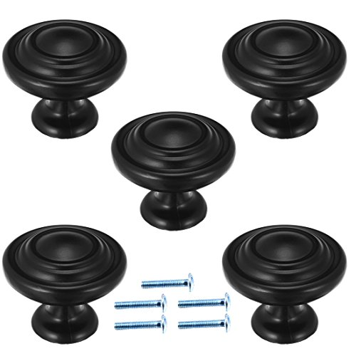uxcell Zinc Alloy 1-1/4in(32mm) Dia Round Pull Knob Flat Black 5pcs