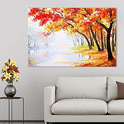 Oil Painting Landscape Autumn Forest Near The Lake Orange Leaves Wall Decor Print, Top Quality Design, Wonderful Creative Design