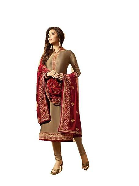 Amazon.com: Delisa - Vestido indio bordado de seda de salwar ...