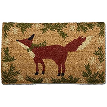 tag - Winter Fox Coir Mat, Decorative All-Season Mat for the Front Porch, Patio or Entryway, Natural