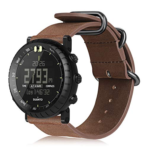 Suunto Strap (Suunto Core Watch Band, Fintie Genuine Leather Strap Replacement Wrist Bands with Metal Clasp for Suunto Core Smart Watch, Vintage Brown)