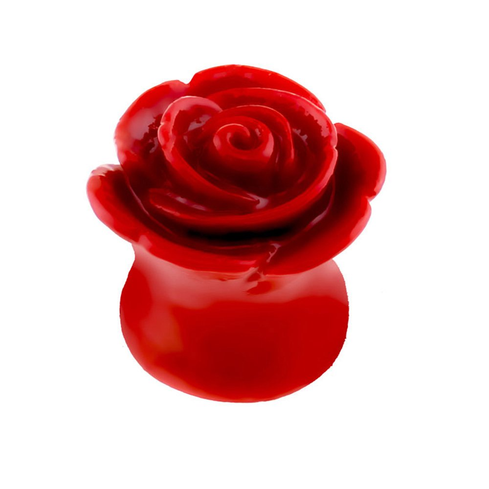 Dynamique Pair of Solid Acrylic Carved Rose Saddle Plugs