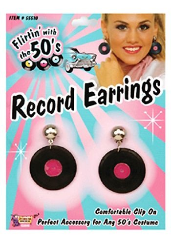 (Forum Novelties 50s Record Earrings Black/Red)