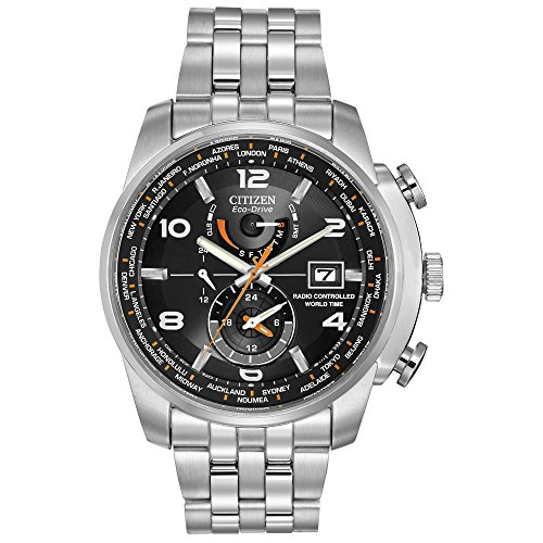 Eco Drive World Time Watch - Citizen Men's Eco-Drive World Time Atomic Timekeeping Watch with Day/Date, AT9010-52E