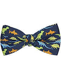 Dinosaur Shark Music Pattern Pre-Tied Bow Tie Adjustable Bowties for Mens & Boys