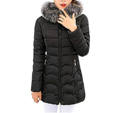 GOVOW Cotton Parka Jacket Women Lightweight Warm Coat Long Thicker Fur  Collar Slim Hooded Outwear ( 38048bce52c3