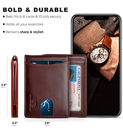 SERMAN BRANDS RFID Blocking Slim Bifold Genuine Leather Minimalist Front Pocket Wallets for Men with Money Clip Thin 5