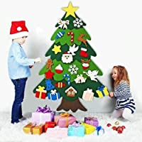 DIY Felt Christmas Tree with 32pcs Ornaments 3.2FT Family 3D Fake Xmas Tree with 20 LED Lights for Kids Toddlers Home…