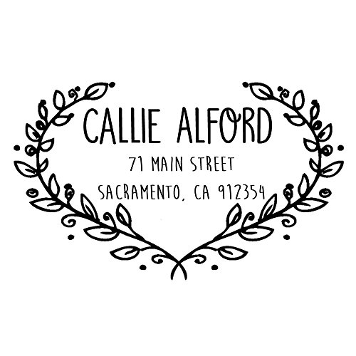 Heart leaf frame Custom name wedding stamp text Self inking return address business personalized name pre ink stamp - Card Heart Frame Place Double