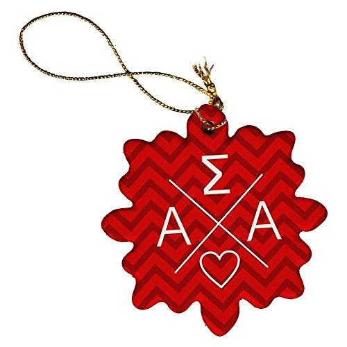 Greekgear Alpha Sigma Alpha ASA Porcelain Ornament Snowflake ()