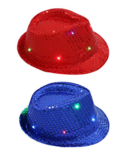 KEFAN 2 Pack LED Light Up Sequin Fedora Hat Jazz Caps Party Costume Hats for Kids -