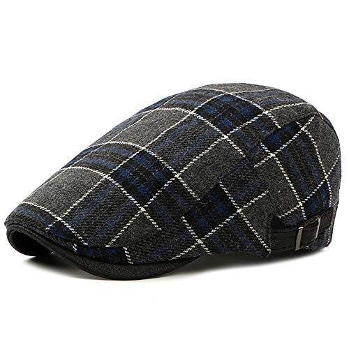 Men's Newsboy Gatsby Hat Vintage Beret Flat Ivy Cabbie Driving Hunting Cap for Boyfriend Gift - Plaid Accessories