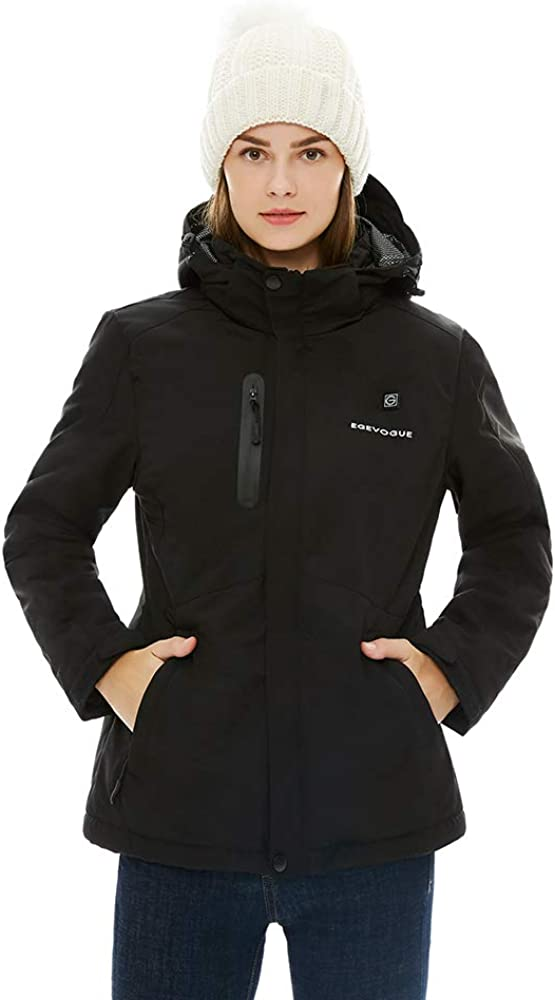 Gorich Women's Heated Jacket with Battery Pack, Heated Coat with Detachable Hood and Waterproof& Windproof: Clothing