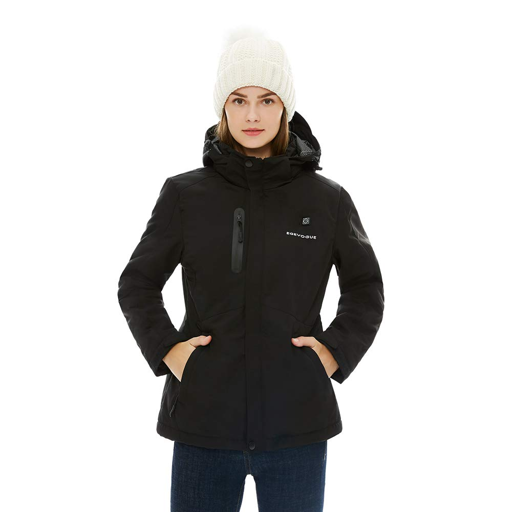Gorich Women's Heated Jacket with Battery Pack Heated Coat with Detachable Hood and Waterproof& Windproof