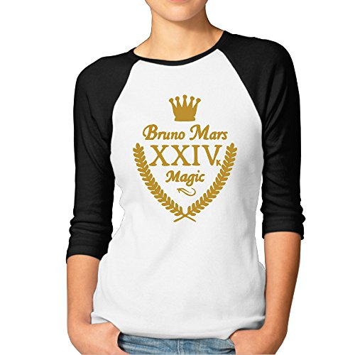 Bruno Mars - 24K Magic Womens 3/4 Sleeve Raglan T-Shirts TEE (Lil John Shirt compare prices)