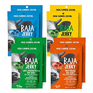 Baja Beef Jerky Variety Pack   Keto Friendly, Gluten Free, Low Calorie, Craft Jerky   25g Protein, 100% All-Natural Beef, No Nitrates   8 pack 1 Oz Bags