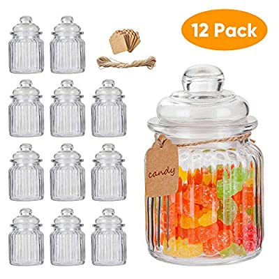 Glass Jars,Flrolove Set of 12 with Lids 8 oz,Yogurt Jars Glass Pudding Jars with Clear Preserving Seal Wire&Tag and hemp rope, Glass Kitchen Storage Canister Mason Jars for Jam, Honey, Spices