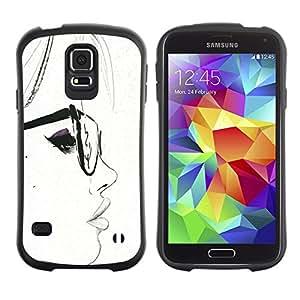 Suave TPU GEL Carcasa Funda Silicona Blando Estuche Caso de protección (para) Samsung Galaxy S5 / CECELL Phone case / / White Hipster Smart Sketch Woman /