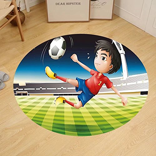 Gzhihine Custom round floor mat Kids Young Boy Playing Football in the Stadium Athlete Sports Soccer Championship Graphic Bedroom Living Room Dorm Multicolor by Gzhihine