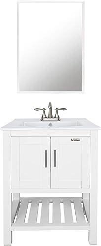 eclife 24″ Bathroom Vanity Sink Combo W/Overflow White Drop
