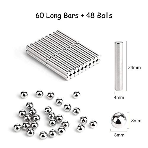 LiKee Upgraded 108 Pieces Magnetic Sculpture with Ultra- Long 0.1in Bars, Magnet Fidget Toys Building Block for Stress Relief, Office and Home Desk Decor, Cool Gadget for Adult (Silver, 108 Pieces) by LiKee (Image #3)