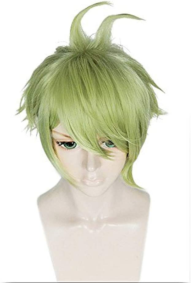ANOGOL Hair Cap+Short Layered Light Green Cosplay Wig Short Wave Costume for Party