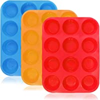 12-Cup Silicone Muffin & Cupcake Baking Pan, YuCool 3 Pack Silicone Molds for Muffin Tins, Cakes, BPA Free Non-Stick Microwave Oven Safe (Orange, Red, Blue)