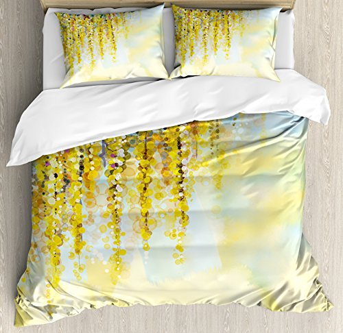 Ambesonne Watercolor Flower Duvet Cover Set King Size, Charms of Golden Yellow Wisteria in Sunny Day Artistic Print, Decorative 3 Piece Bedding Set with 2 Pillow Shams, Yellow Pale Blue - Cover Duvet Wisteria Set
