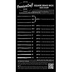 PremiumCraft Square Braid Cotton Candle Wick - #4