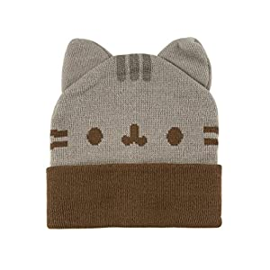 Pusheen Beanie Hat with Ears,Gray,Standard