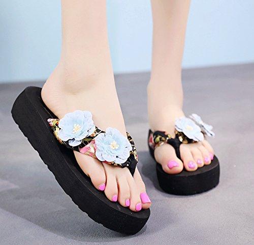 FLYRCX Pendiente resbaladiza con sandalias señoras de moda de verano al aire libre suela gruesa flip flops zapatillas de playa. f