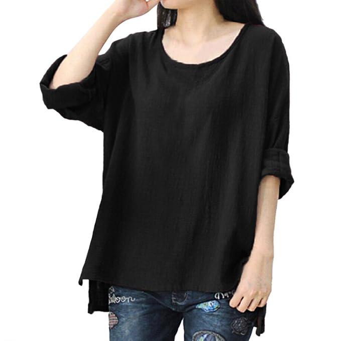 Vovotrade® Mujer Blusa, Color Sólido Estilo Simple Lino Cuello Redondo Manga Larga Casual Suelto