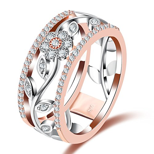 Cubic Zirconia Rings for Women Flower Ring Wedding Engagement Band Valentine's Day Goft Size 7