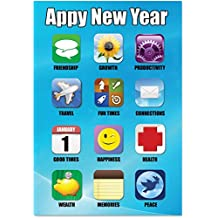 B1843 Box Set of 12 'Box of Appy New Year New Year' Funny New Year Card, with Envelopes