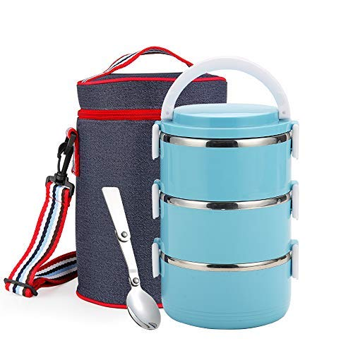 Round Lunch Box - WORTHBUY Stainless Steel Lunch Box, Lock Container and Heat/Cold Insulated Bag, Leak Proof Stackable Bento Lunch Box for Adults Large Capacity Food Storage Boxes (3-Tier, Blue)